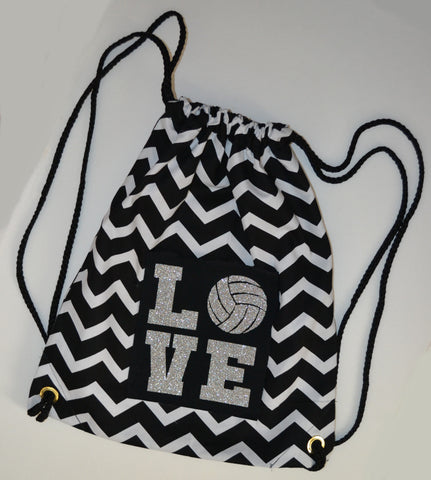 "Silver Glitter ""LOVE"" Volleyball  Black and White Chevron Backpack Bag"