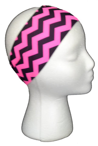 HOT PINK and BLACK  CHEVRON Spandex Headband