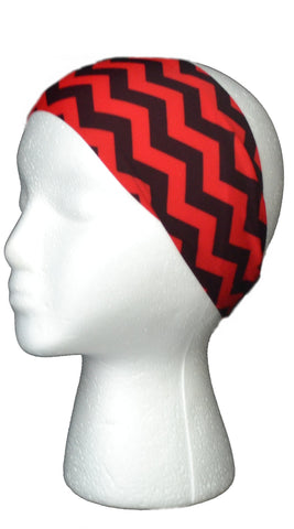 Red and Black Chevron Headband janibands
