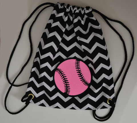 Hot Pink Glitter SOFTBALL on Black and White Chevron Backpack Bag