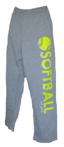 SOFTBALL Sweatpants in Grey with Neon Yellow Print