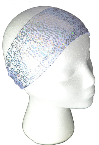 Silver on white shattered glass spandex headband