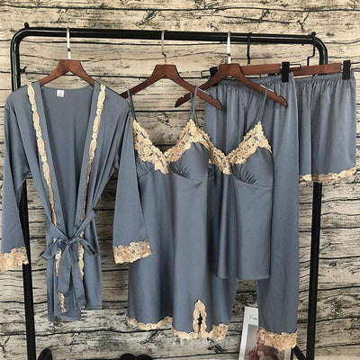 Cyan Trillium Women's Clothing 2019 Women Sleepwear 5 Pieces Pyjamas Satin Silk