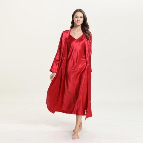 Cyan Trillium Women's Clothing L / Red 2019 Red Women Robe Sets Sexy V-Neck Satin