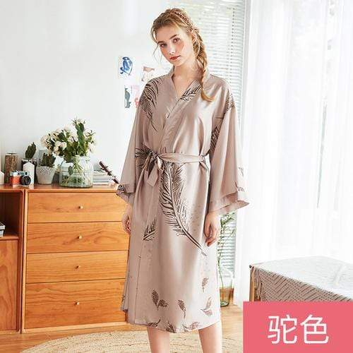 Cyan Trillium Women's Clothing L / tuose Robe Silk Bath Robe Satin Women Sleepwear