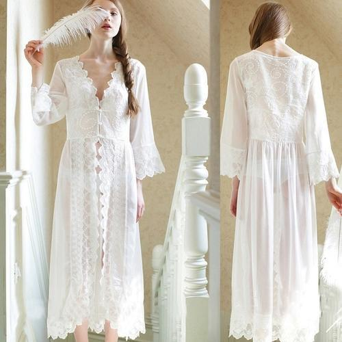 Cyan Trillium Women's Clothing L / White 2019 New Palace Style White Lace Long Robe
