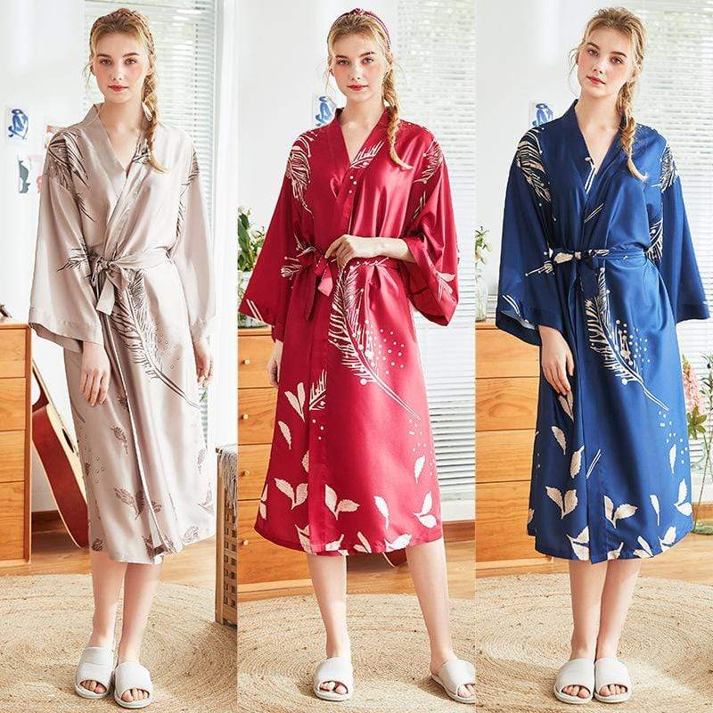 Cyan Trillium Women's Clothing Robe Silk Bath Robe Satin Women Sleepwear | Luxnightwear.com