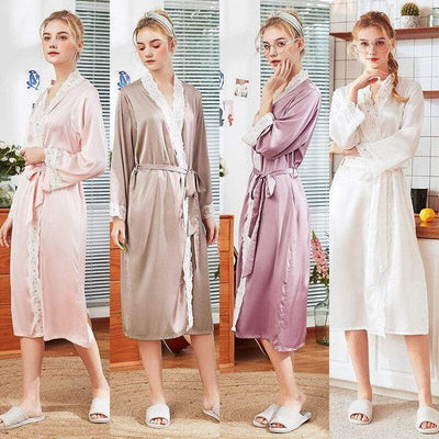 Cyan Trillium Women's Clothing Women Sleepwear Lace Female Robe Silk Kimono