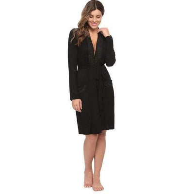 eprolo Gown & Robe Set Black / S Long Sleeve Pockets Lace Spa Bath Robe | LuxNightwear.com