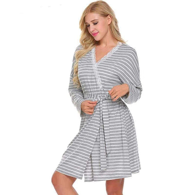 eprolo Robes Gray / S Stripe Split Pregnancy Nursing Robe | LuxNightwear.com