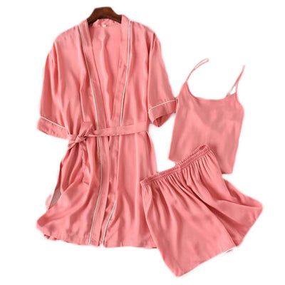 George & Jimmy Creative Ltd Apparel, shoes & jewelry||Apparel||Kid & baby||Boys||Sleepwear Japanese Style Three-piece Suit Women Satin Kimono Robe Bathrobe Pajamas Sleepwear-F03 Japanese Style Three-piece Suit Women Satin Kimono Robe Bathrobe Pajamas Sleepwear-F03