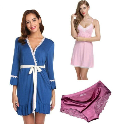 Lux Nightwear 3Pcs/pack Women Sleepwear Long Sleeve Robe Lace | LuxNightwear.com
