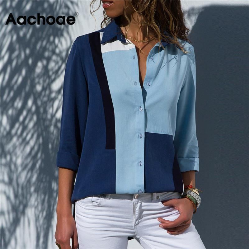 Lux Nightwear Aachoae Women Blouses 2020 Fashion Long Sleeve Turn Down Collar Office Shirt Blouse Shirt Casual Tops Plus Size Blusas Femininas