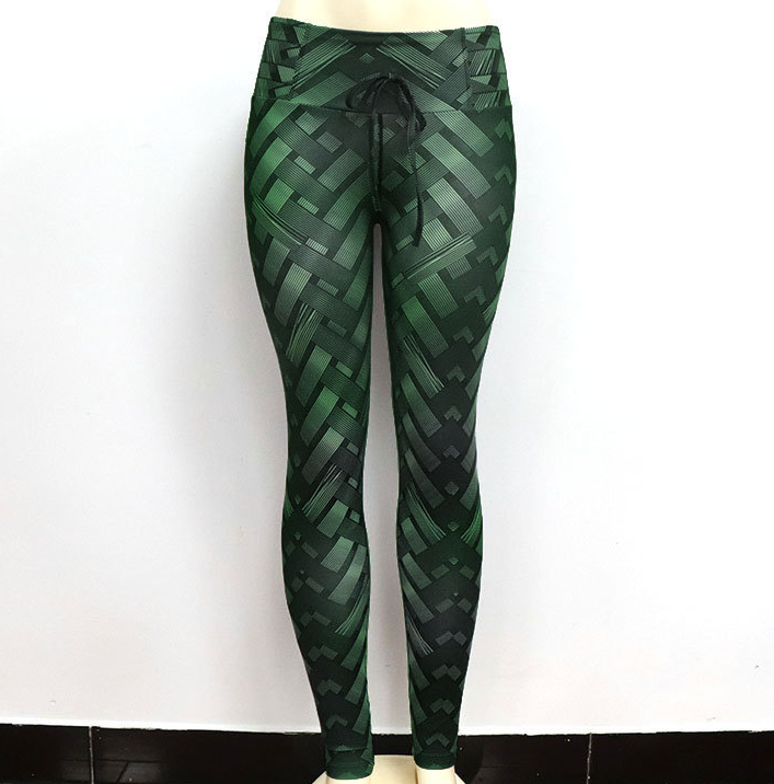 Lux Nightwear Apparel, shoes & jewelry||Apparel||Women||Activewear Green / M High Waist Iron Armor Weave Print Push Up Yoga/Workout Leggings