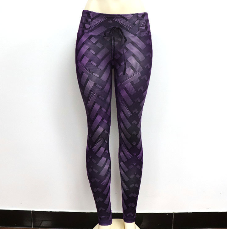 Lux Nightwear Apparel, shoes & jewelry||Apparel||Women||Activewear Violet / L High Waist Iron Armor Weave Print Push Up Yoga/Workout Leggings