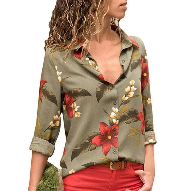 Lux Nightwear Army Green 691 / XXL Aachoae Women Blouses 2020 Fashion Long Sleeve Turn Down Collar Office Shirt Blouse Shirt Casual Tops Plus Size Blusas Femininas