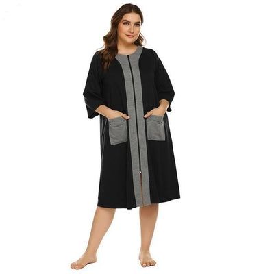 Lux Nightwear black / XL / United States Ekouaer Plus Size Nightgown Women Half Sleeve Zipper Robe Pockets Loungewear Night Dress Ladies Nighties Sleepwear XL-5XL