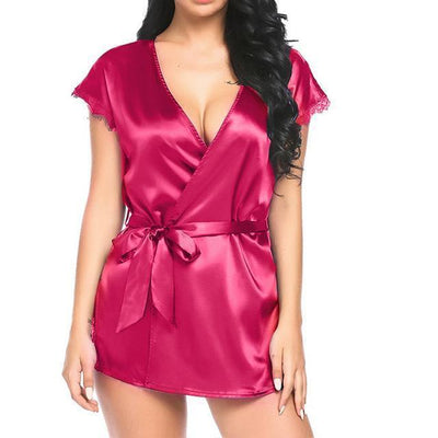 Lux Nightwear Gown & Robe Set Hot Pink / S / United States Silk Lace Soft Loose Night Kimono Robe Satin | luxnightwear.com