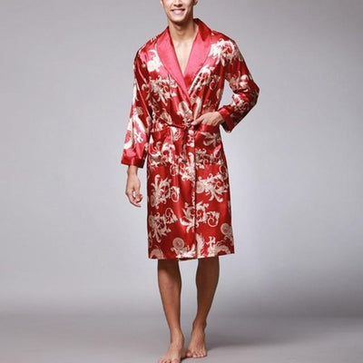 Lux Nightwear Gown & Robe Set Red / L Stylish Men's Bathrobe Silk Kimono Long Sleeves Robe Chinese Lucky Dragon Print Pajamas Men Gown Bathrobe Men Homewear Masculina