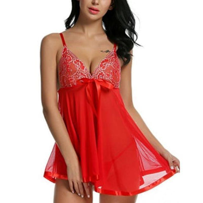 Lux Nightwear Gown & Robe Set Red / XL / China Deep-V Neck Night Dress Women Lingerie Sleep Wear Lace Nightgown Purple Red Black Sleep Dress for Women