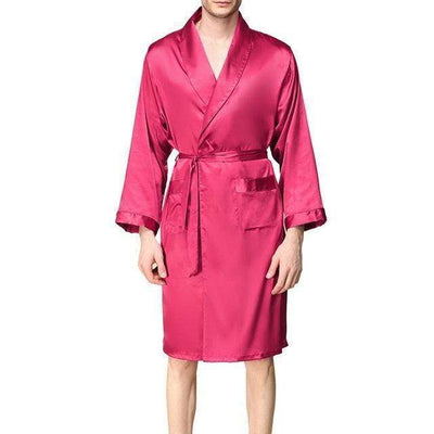 Lux Nightwear Gown & Robe Set wine red robe / L / United States Men Lounge Silk Nightwear Bathrobes gown Sleep Robes | luxnightwear.com