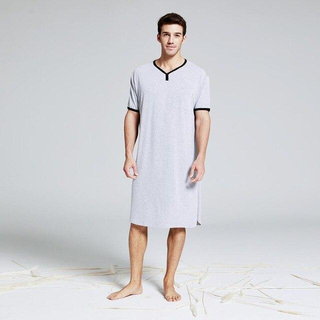 Lux Nightwear GREY SOLID COLOR / L Men's  Summber Cotton Long T-shirt Henley Sleepshirt Short Sleeve Nightwear Big & Tall Plus Size Comfy Housewear Pajamas