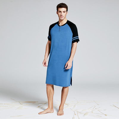 Lux Nightwear Men's  Summber Cotton Long T-shirt Henley Sleepshirt Short Sleeve Nightwear Big & Tall Plus Size Comfy Housewear Pajamas