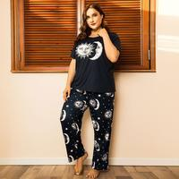 Lux Nightwear Plus Size (XL-4XL)  2 Pieces Set Simple Short Sleeve Print Pajama | Luxnightwear.com