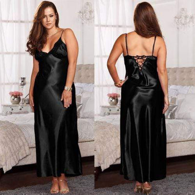 Lux Nightwear Robes Black Ladies Long Satin Nightdress Nightie Lace Plus Size | LuxNightwear.com