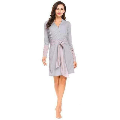 Lux Nightwear Robes Gray / L Women Robes Casual Sleepwear Deep V-Neck | LuxNightwear.com