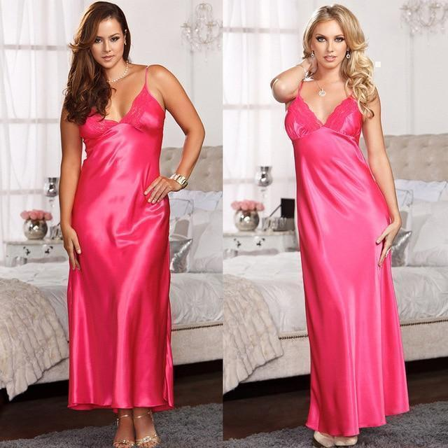 Lux Nightwear Robes Pink Ladies Long Satin Nightdress Nightie Lace Plus Size | LuxNightwear.com