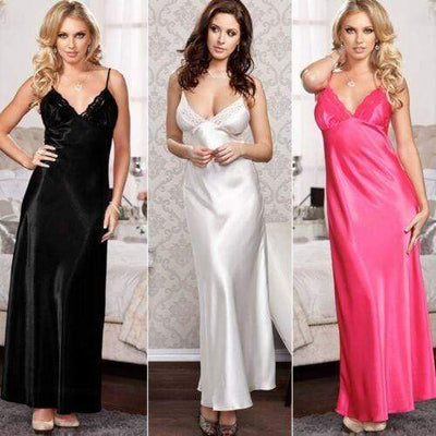 Lux Nightwear Robes White Ladies Long Satin Nightdress Nightie Lace Plus Size | LuxNightwear.com