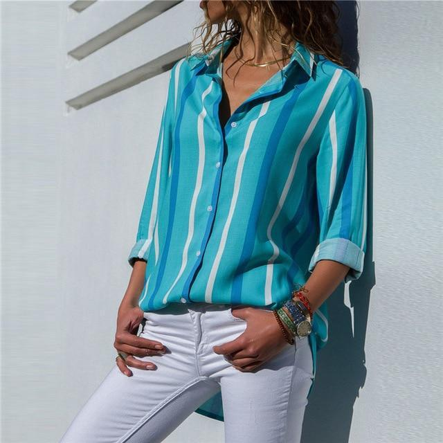 Lux Nightwear Sky Blue 1052 / XXL Aachoae Women Blouses 2020 Fashion Long Sleeve Turn Down Collar Office Shirt Blouse Shirt Casual Tops Plus Size Blusas Femininas