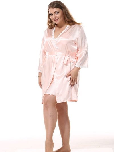 Lux Nightwear Women - Apparel - Lingerie and Sleepwear - Lounge Shorts Pink / XXXL Large size simulation silk nightdress