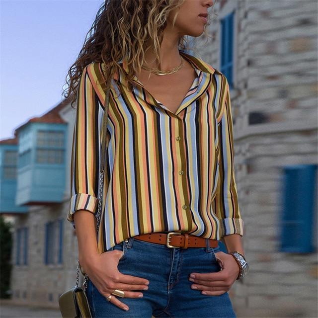 Lux Nightwear Yellow 29 / XXL Aachoae Women Blouses 2020 Fashion Long Sleeve Turn Down Collar Office Shirt Blouse Shirt Casual Tops Plus Size Blusas Femininas