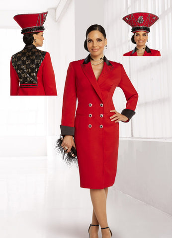 Donna Vinci 11844 Embellished Double Breasted Coatdress