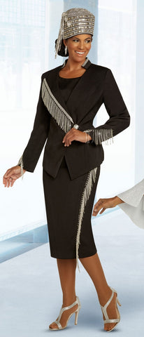 Donna Vinci 11852 Rhinestone Fringe Trim 2pc Suit