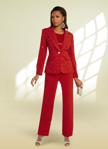 Donna Vinci 11856 Rhinestone Embellished 3pc Pant Suit