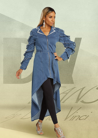 Donna Vinci 8436 Embellished Stretch Denim High-low Tunic Top