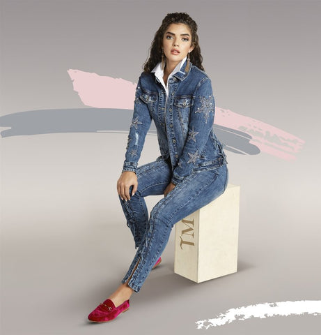 Tesoro Moda by Donna Vinci 20010JKT Lace-up Denim Jacket