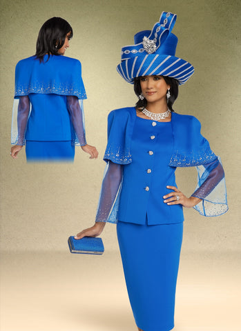 Donna Vinci 11796 Organza Sleeve Capelet 2pc Suit