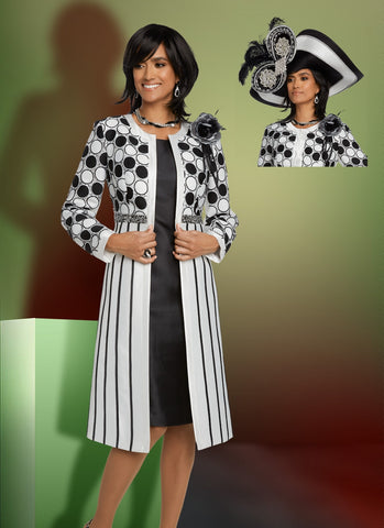 Donna Vinci 11798 Dot Stripe 2pc Jacket Dress