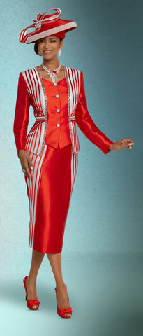 Donna Vinci 11800 Satin Stripe Rhinestone Trim 2pc Suit