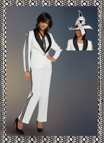 Donna Vinci 11806 Rhinestone and Lace Stripe 3pc Pant Suit