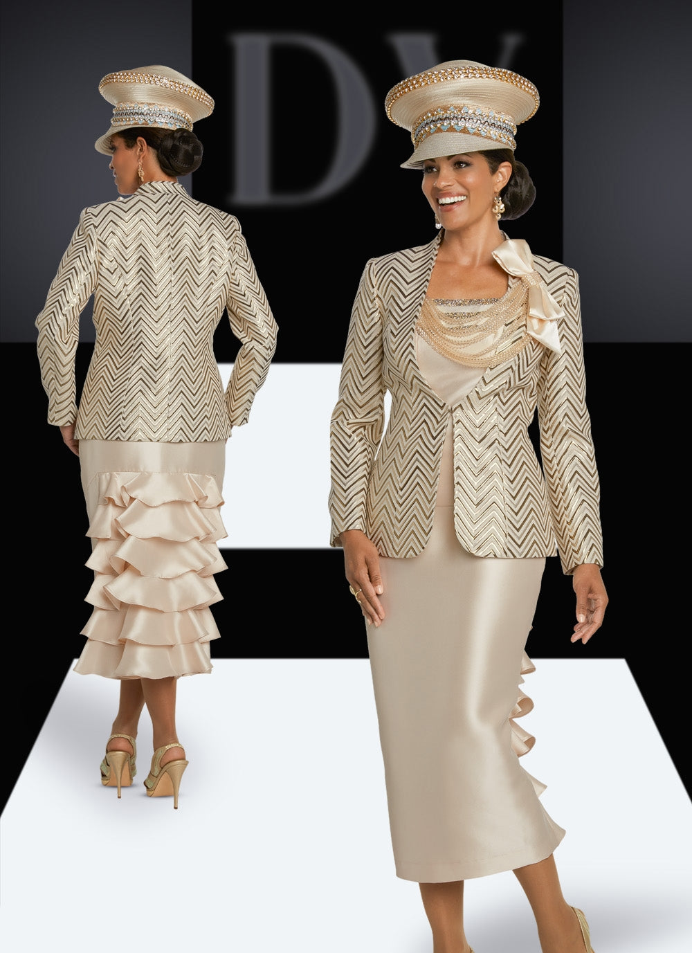 Donna Vinci 5633 Rhinestone Trim 3pc Suit