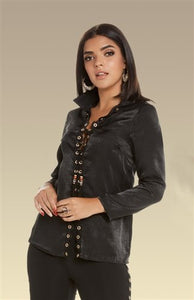 Love The Queen 17233 Grommet Tie Front Top