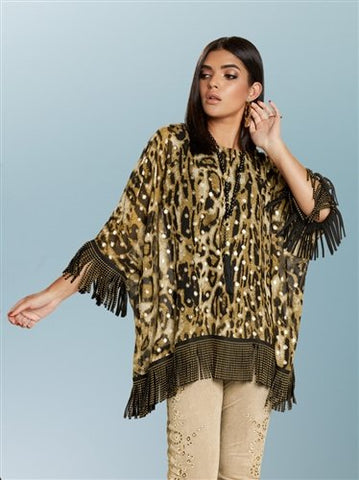 Love the Queen 17240 Fringe Trim Animal Print Top
