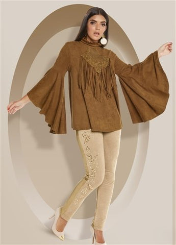 Love The Queen 17241 Faux Suede Fringe Trim Top