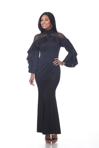 Love The Queen 17253 Ruffle Sleeve Dress