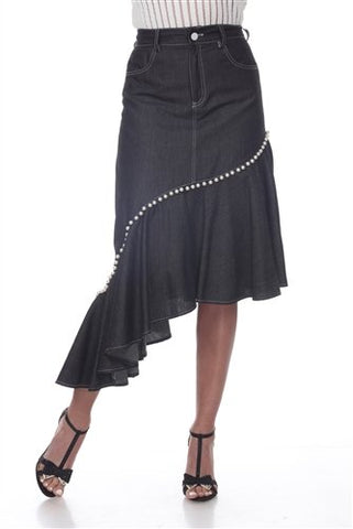 Love The Queen 17266 Pearl Trim Asymmetrical Denim Skirt